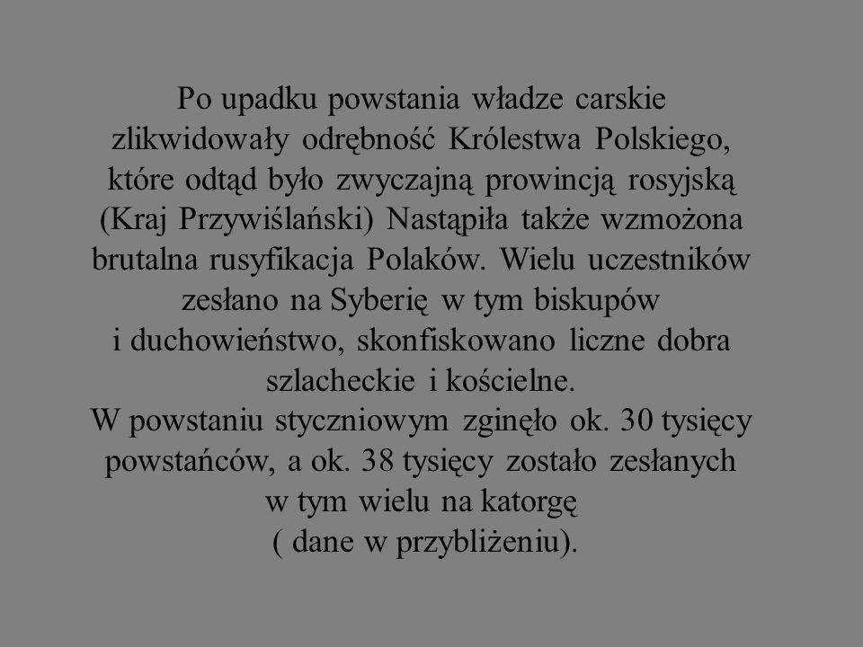 Po upadku powstania władze carskie zlikwidowały odrębność Królestwa Polskiego, które odtąd było zwyczajną prowincją rosyjską (Kraj Przywiślański) Nastąpiła także wzmożona brutalna rusyfikacja Polaków. Wielu uczestników zesłano na Syberię w tym biskupów i duchowieństwo, skonfiskowano liczne dobra szlacheckie i kościelne.