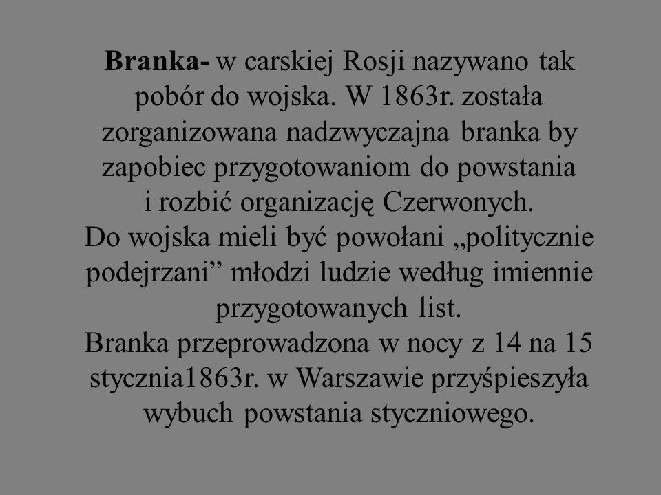 Branka- w carskiej Rosji nazywano tak pobór do wojska. W 1863r