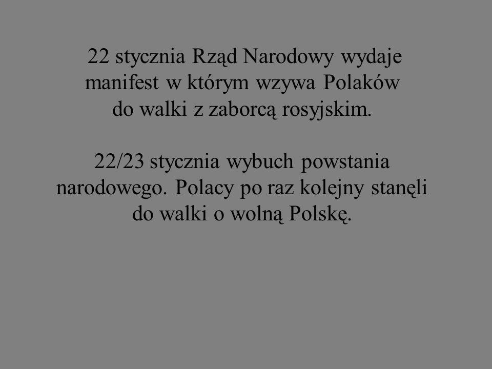 22 stycznia Rząd Narodowy wydaje manifest w którym wzywa Polaków do walki z zaborcą rosyjskim.