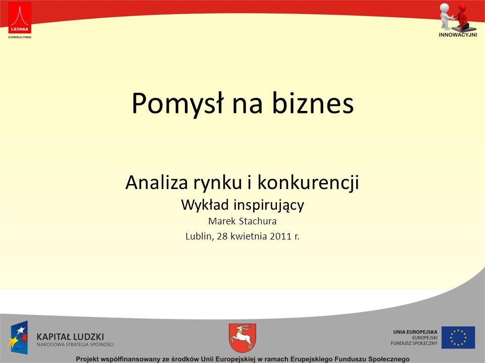 Analiza rynku i konkurencji Wykład inspirujący Marek Stachura