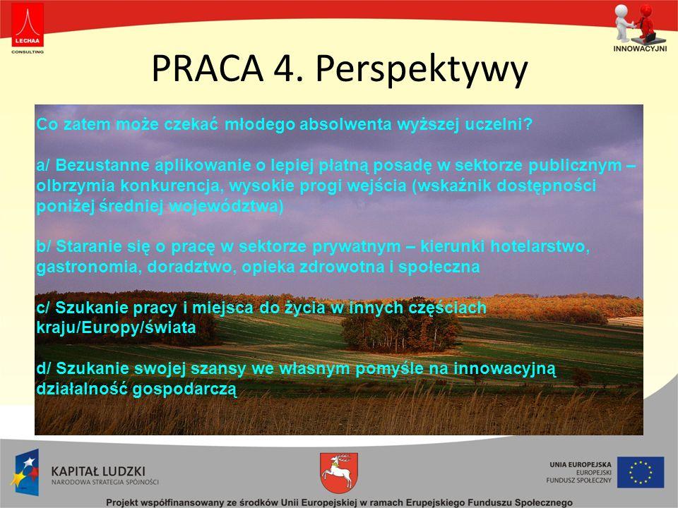 PRACA 4. Perspektywy Co zatem może czekać młodego absolwenta wyższej uczelni