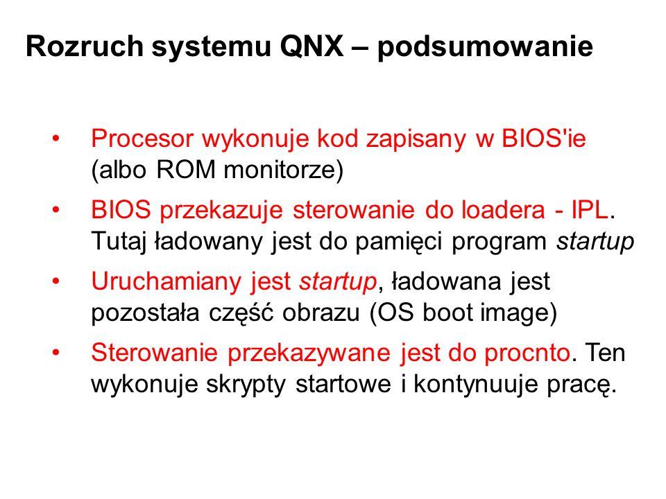 Rozruch systemu QNX – podsumowanie