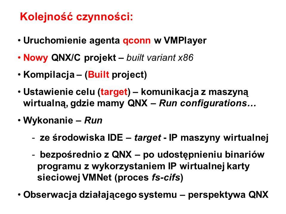 Kolejność czynności: Uruchomienie agenta qconn w VMPlayer