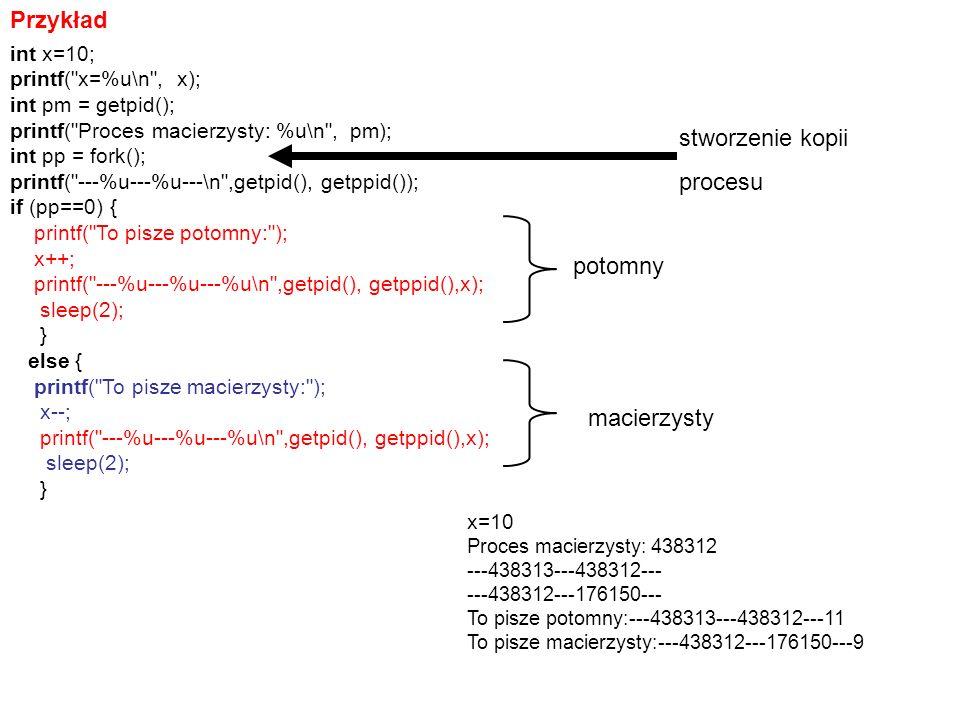 Przykład stworzenie kopii procesu potomny macierzysty int x=10;