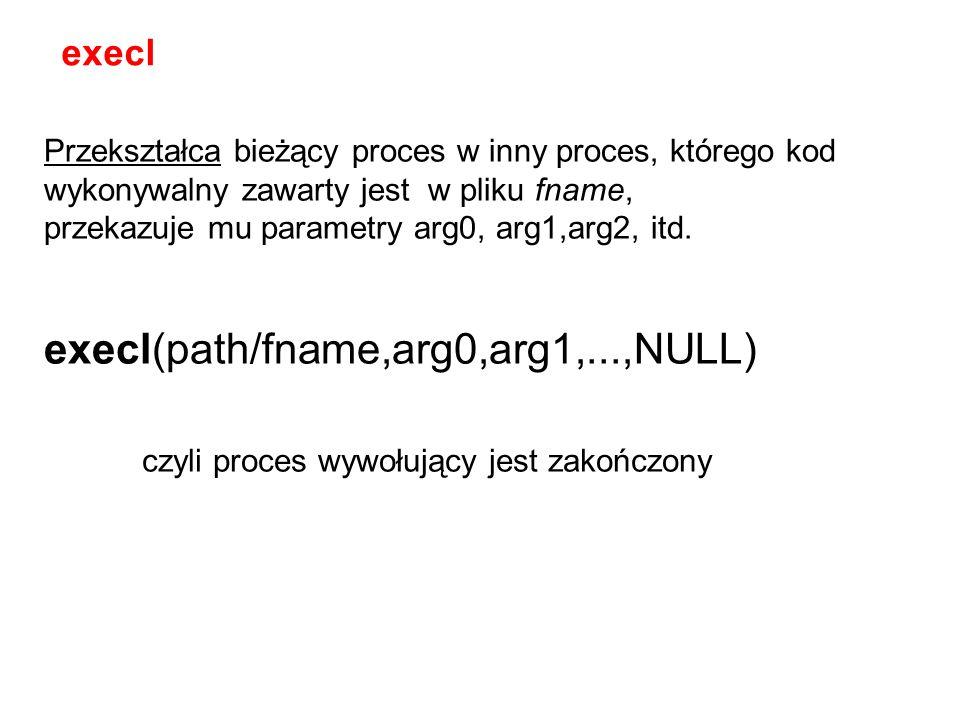 execl(path/fname,arg0,arg1,...,NULL)