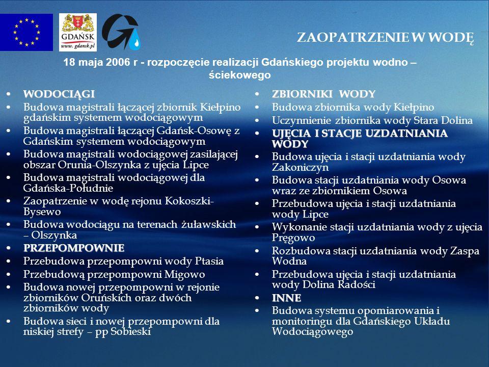 ZAOPATRZENIE W WODĘ 18 maja 2006 r - rozpoczęcie realizacji Gdańskiego projektu wodno – ściekowego.