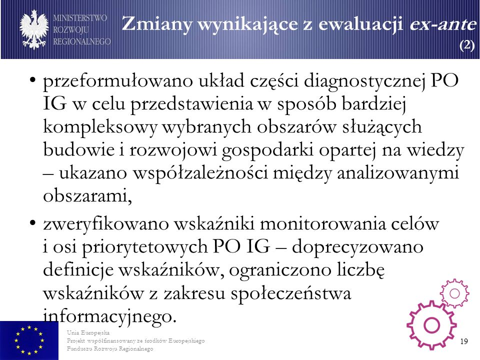 Zmiany wynikające z ewaluacji ex-ante (2)