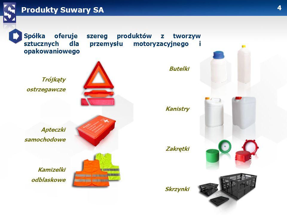 Produkty Suwary SA Spółka oferuje szereg produktów z tworzyw sztucznych dla przemysłu motoryzacyjnego i opakowaniowego.