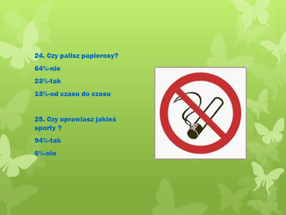 24. Czy palisz papierosy. 64%-nie 23%-tak 13%-od czasu do czasu 25