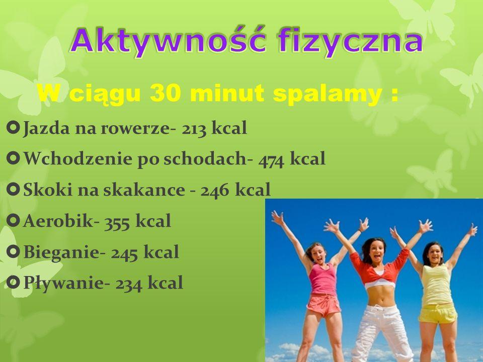 Aktywność fizyczna W ciągu 30 minut spalamy :