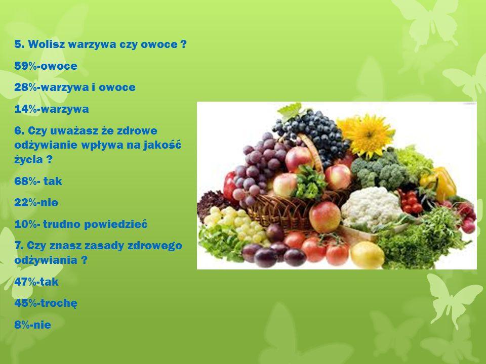 5. Wolisz warzywa czy owoce