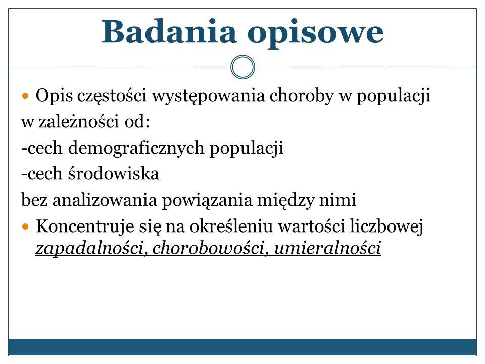 Badania opisowe Opis częstości występowania choroby w populacji