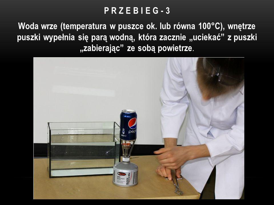 P R Z E B I E G - 3 Woda wrze (temperatura w puszce ok