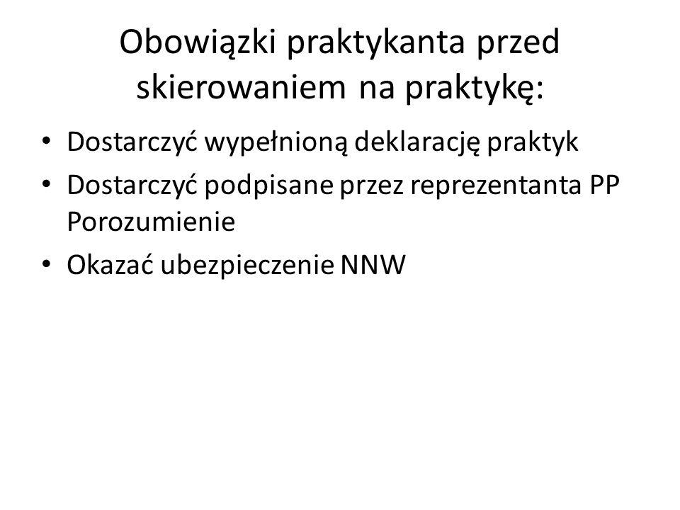 Obowiązki praktykanta przed skierowaniem na praktykę: