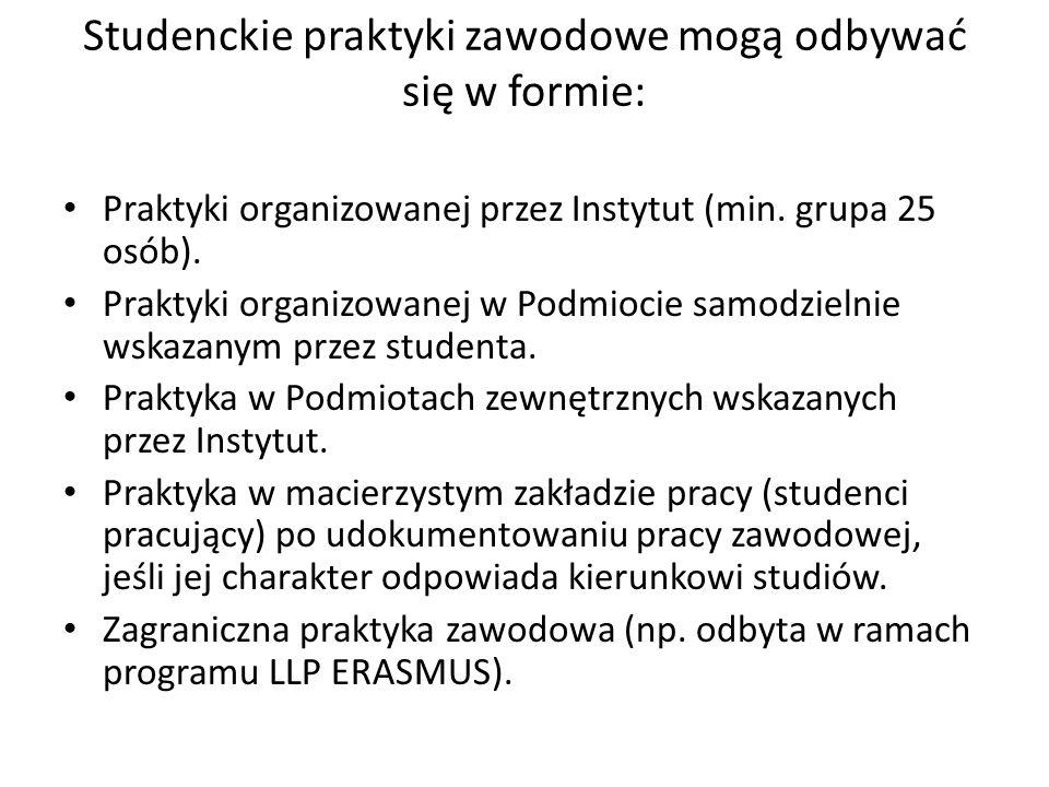 Studenckie praktyki zawodowe mogą odbywać się w formie: