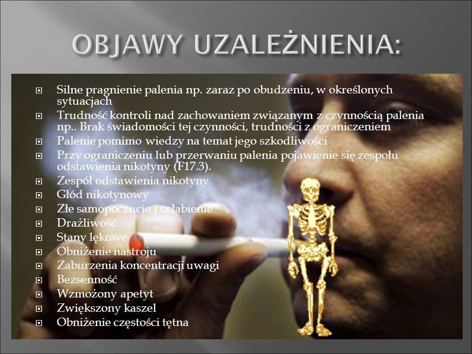 OBJAWY UZALEŻNIENIA: Silne pragnienie palenia np. zaraz po obudzeniu, w określonych sytuacjach.