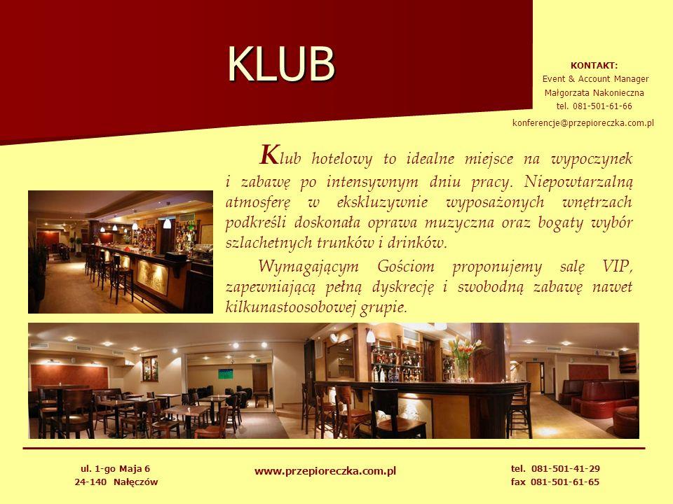 KLUB KONTAKT: Event & Account Manager. Małgorzata Nakonieczna. tel. 081-501-61-66. konferencje@przepioreczka.com.pl.