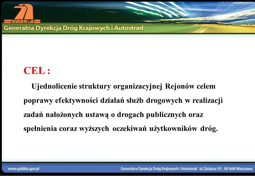 CEL : Ujednolicenie struktury organizacyjnej Rejonów celem