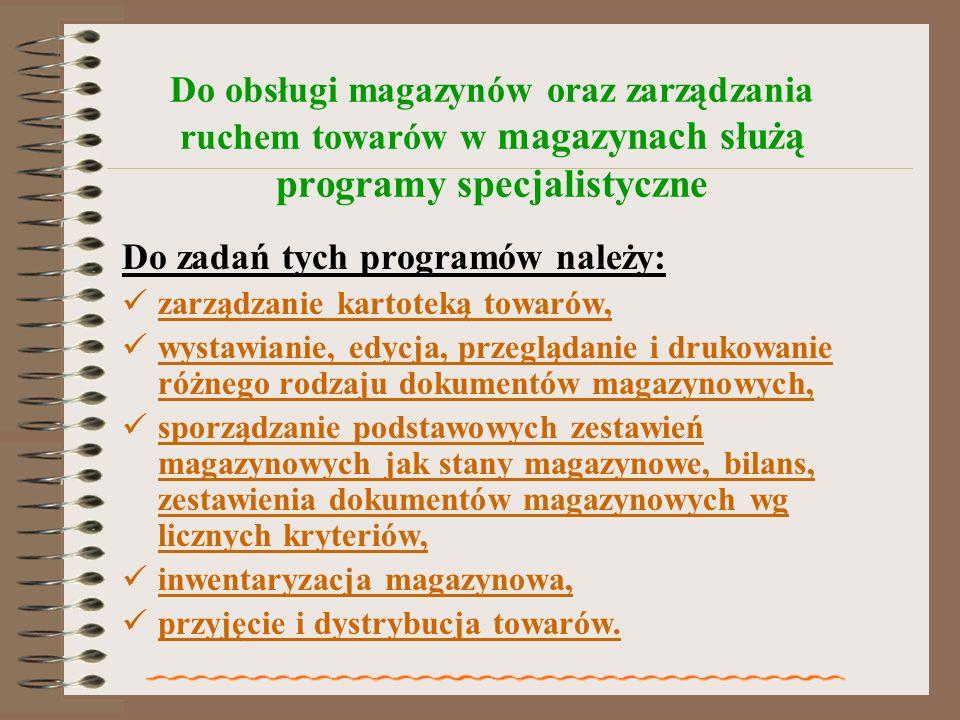 Do zadań tych programów należy:
