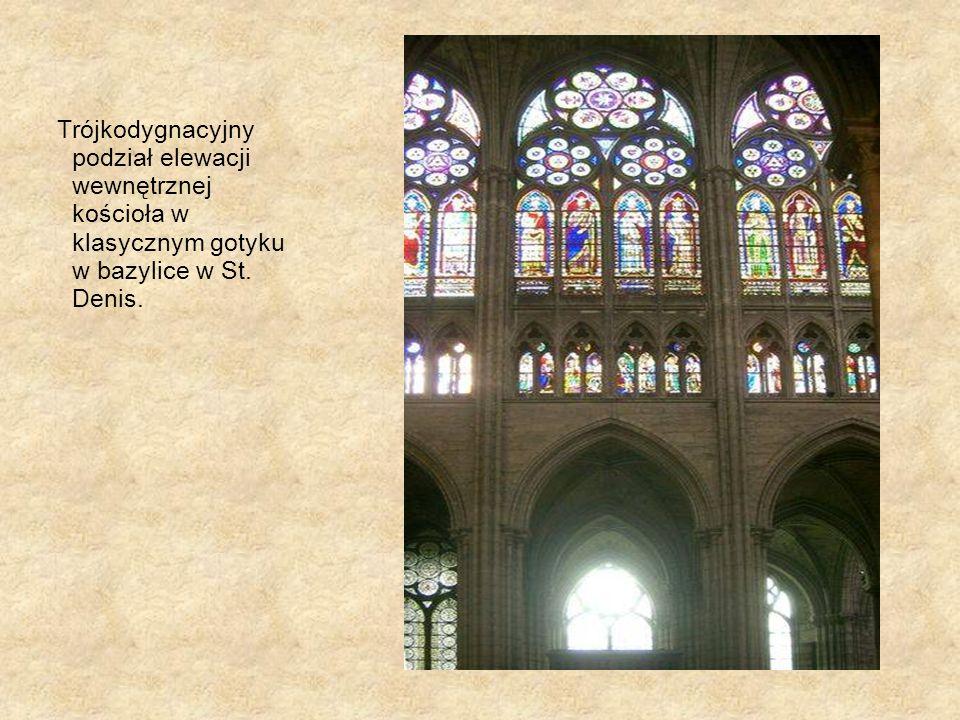 Trójkodygnacyjny podział elewacji wewnętrznej kościoła w klasycznym gotyku w bazylice w St. Denis.