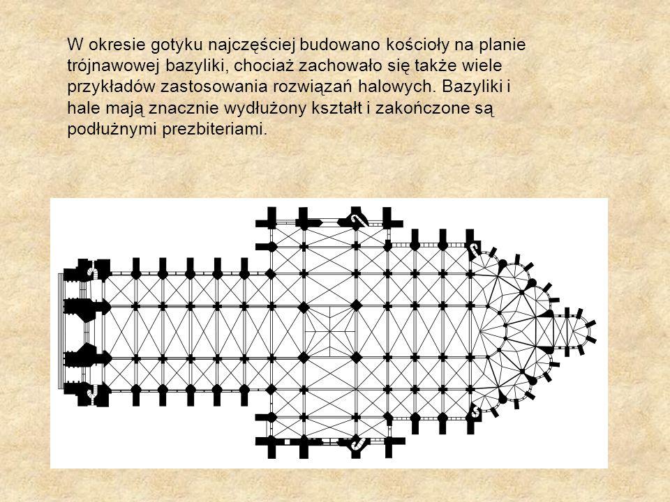 W okresie gotyku najczęściej budowano kościoły na planie trójnawowej bazyliki, chociaż zachowało się także wiele przykładów zastosowania rozwiązań halowych.
