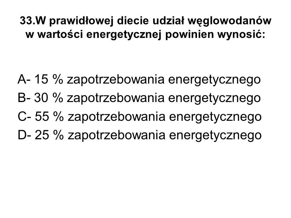A- 15 % zapotrzebowania energetycznego