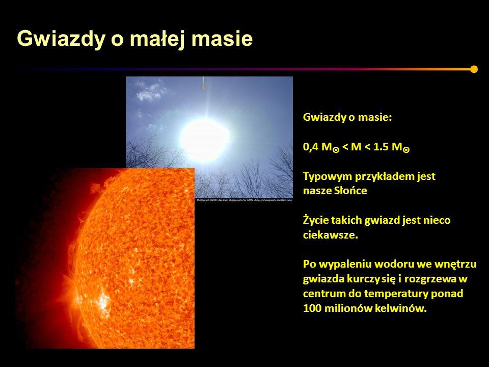 Gwiazdy o małej masie Gwiazdy o masie: 0,4 M < M < 1.5 M