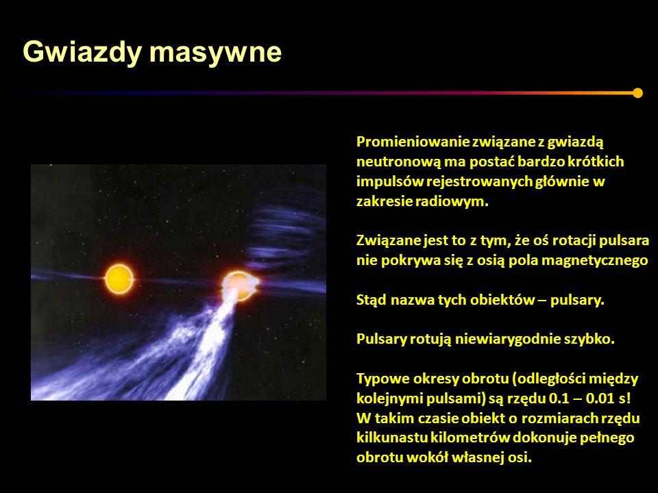 Gwiazdy masywne Promieniowanie związane z gwiazdą