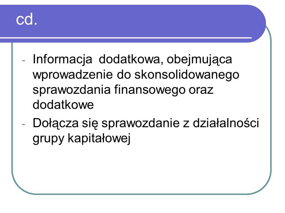 cd. Informacja dodatkowa, obejmująca wprowadzenie do skonsolidowanego sprawozdania finansowego oraz dodatkowe.