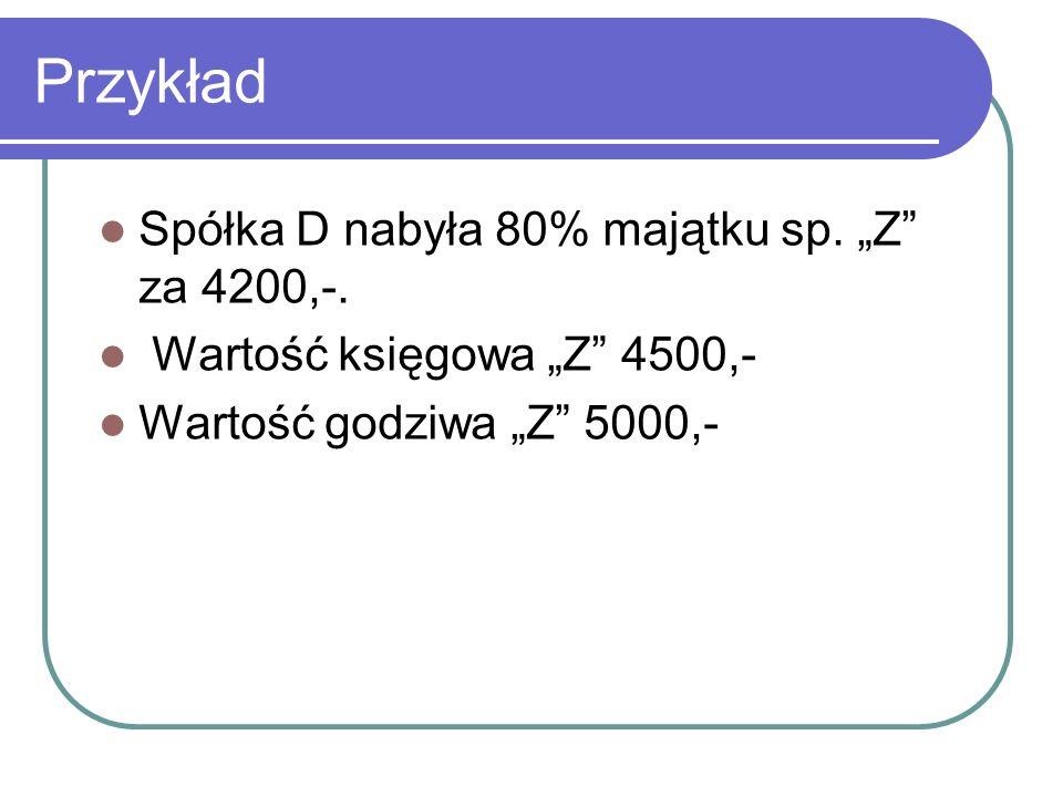 """Przykład Spółka D nabyła 80% majątku sp. """"Z za 4200,-."""