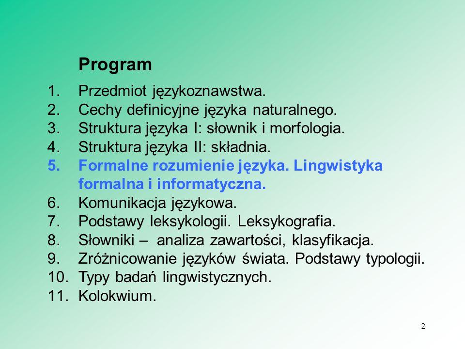 Program Przedmiot językoznawstwa.