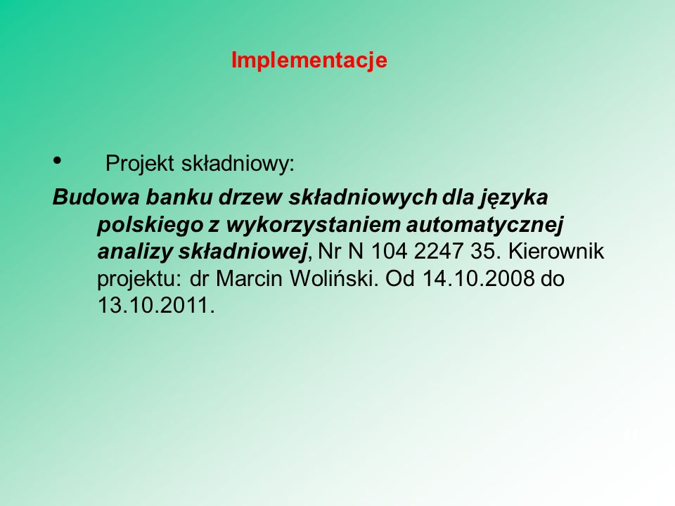 Projekt składniowy: Implementacje