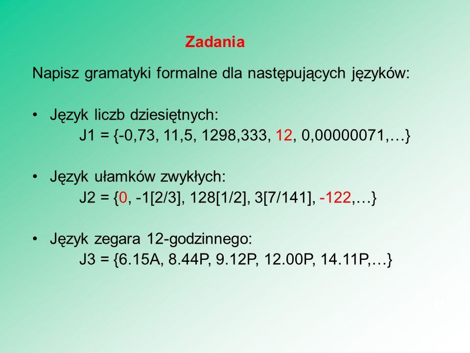 Zadania Napisz gramatyki formalne dla następujących języków: Język liczb dziesiętnych: J1 = {-0,73, 11,5, 1298,333, 12, 0,00000071,…}