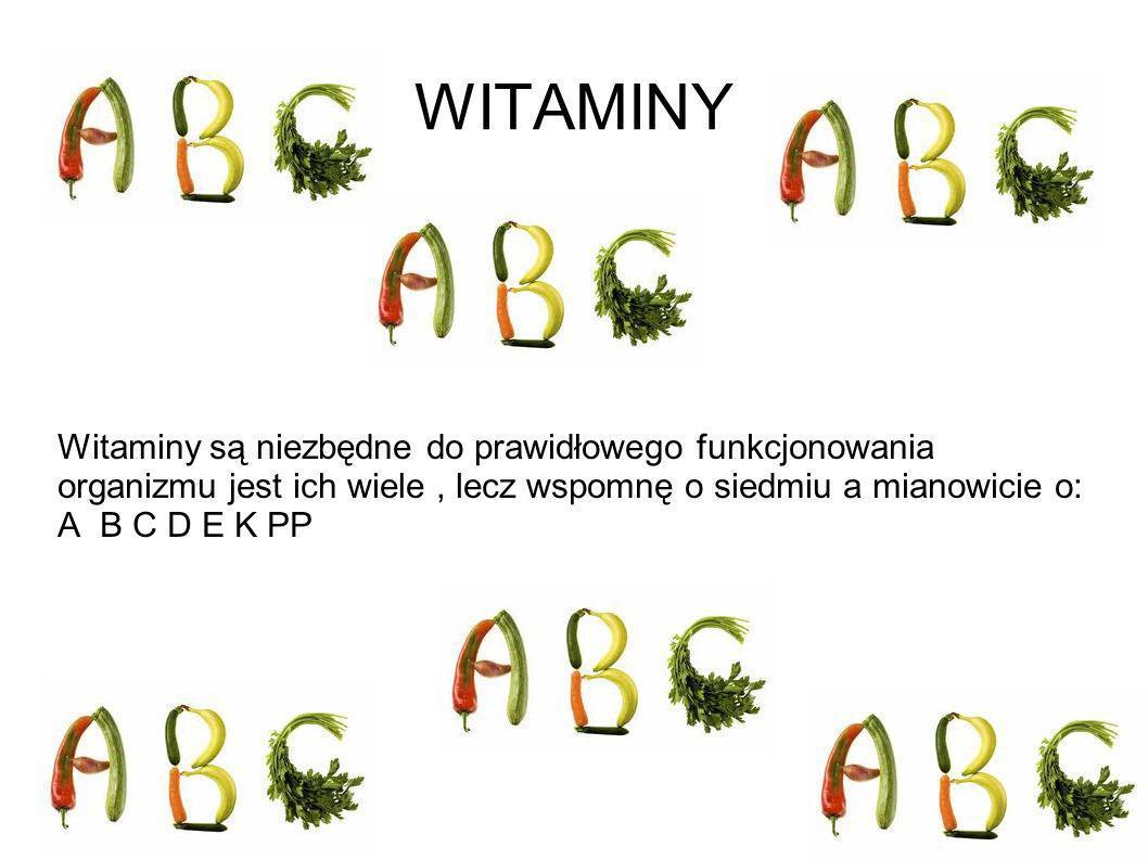 WITAMINY Witaminy są niezbędne do prawidłowego funkcjonowania organizmu jest ich wiele , lecz wspomnę o siedmiu a mianowicie o: A B C D E K PP.