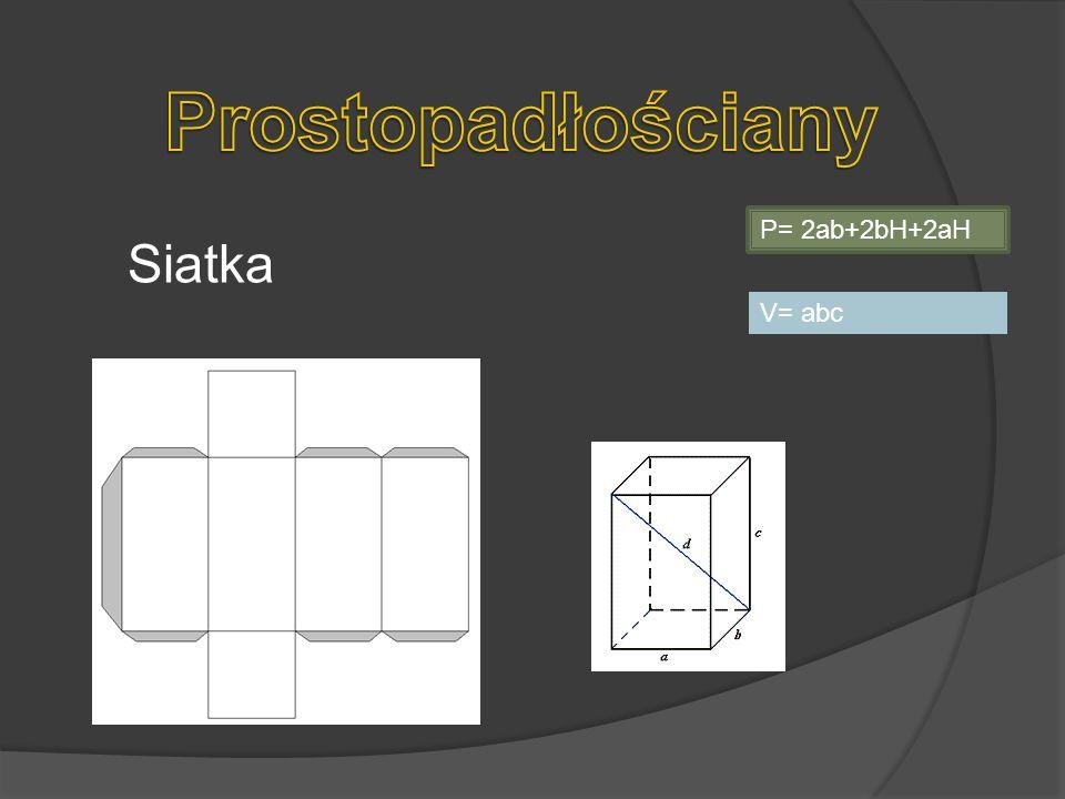 Prostopadłościany P= 2ab+2bH+2aH Siatka V= abc