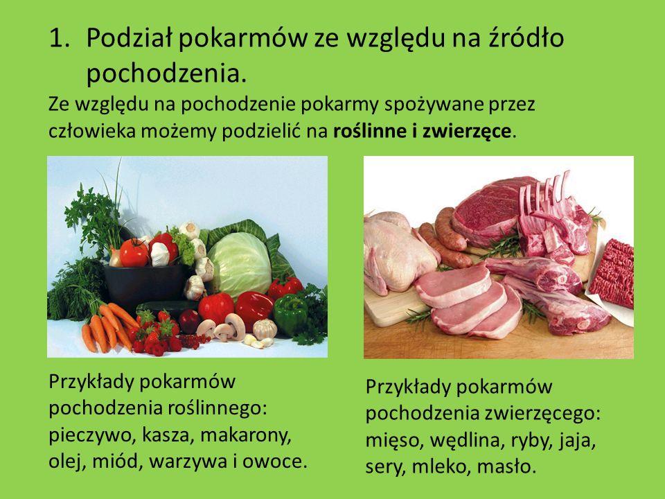 Podział pokarmów ze względu na źródło pochodzenia.