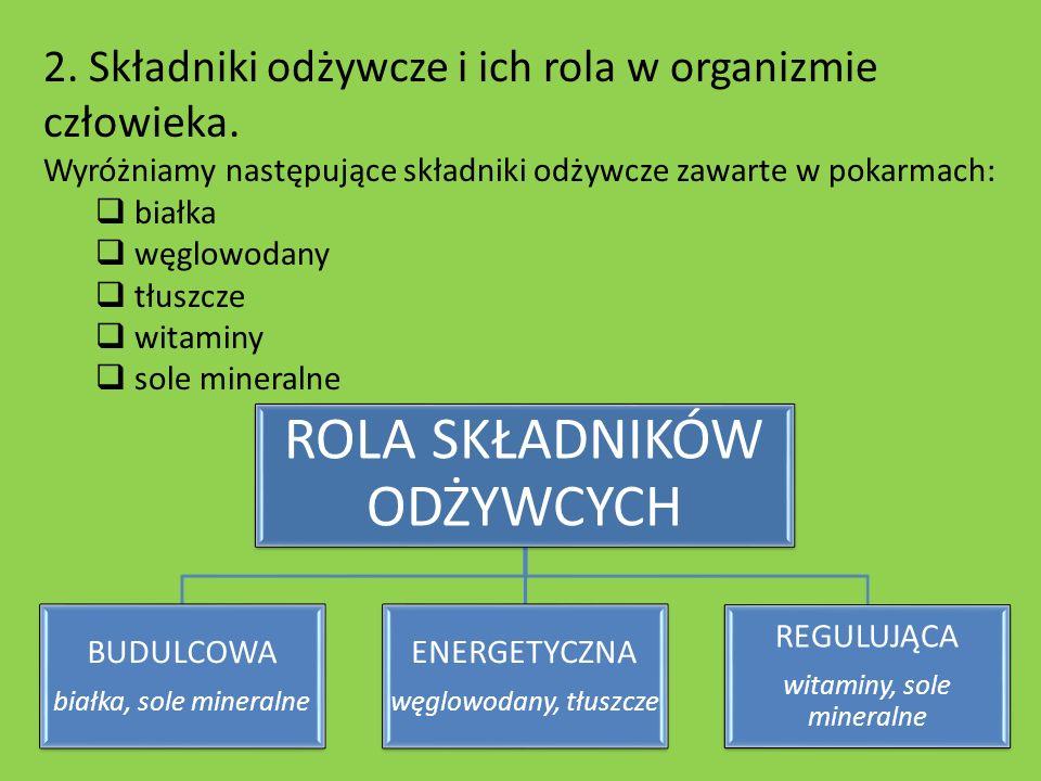 2. Składniki odżywcze i ich rola w organizmie człowieka.