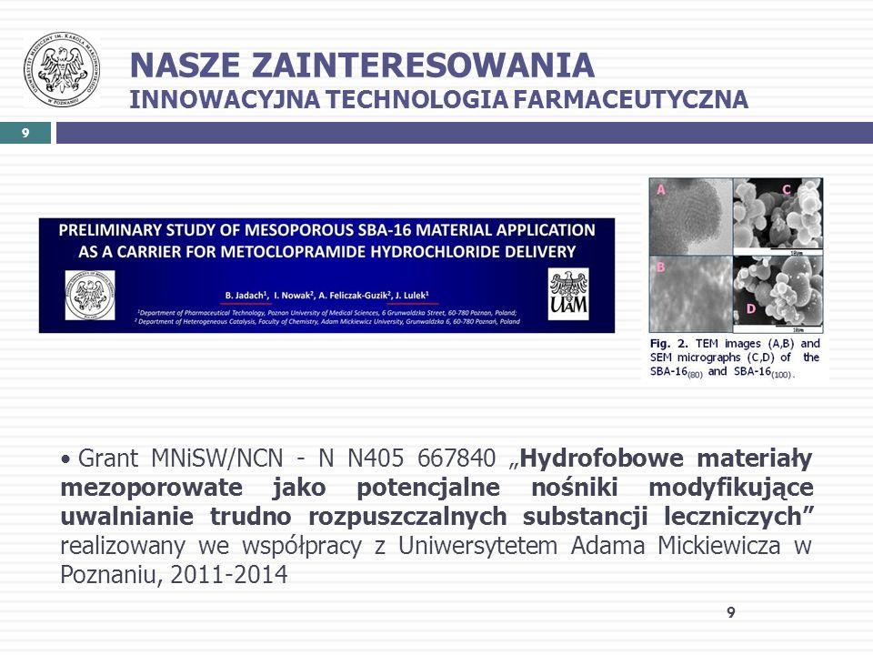 NASZE ZAINTERESOWANIA INNOWACYJNA TECHNOLOGIA FARMACEUTYCZNA