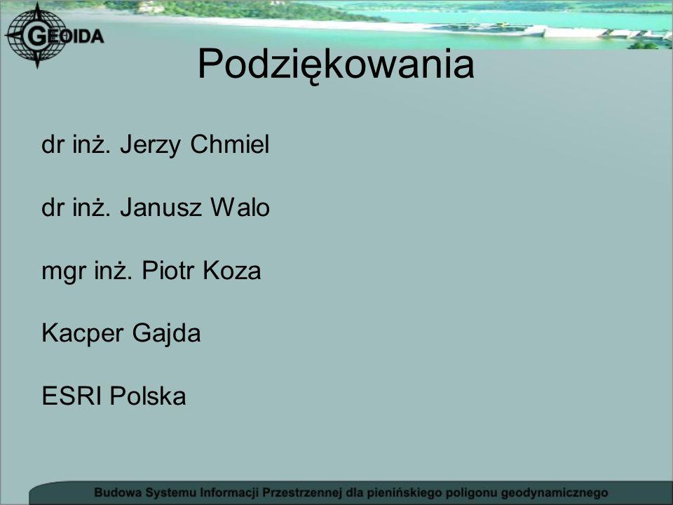 Podziękowania dr inż. Jerzy Chmiel dr inż. Janusz Walo