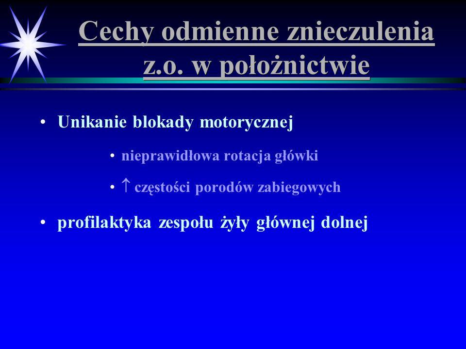 Cechy odmienne znieczulenia z.o. w położnictwie