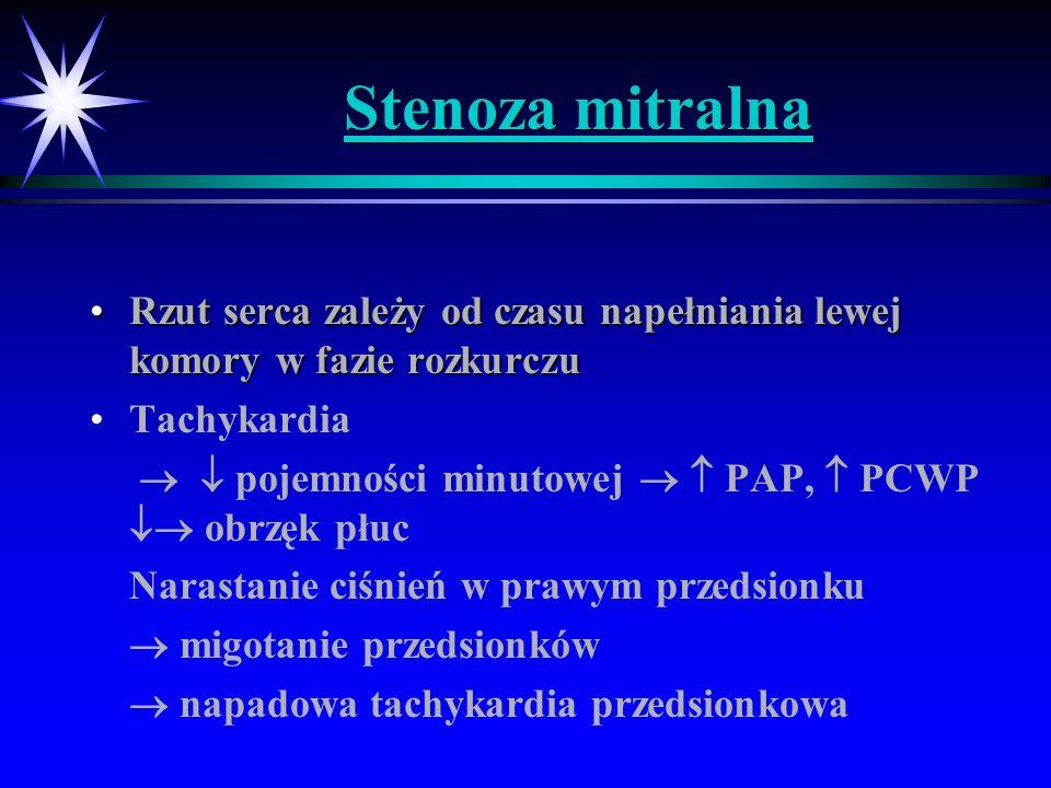 Stenoza mitralna Rzut serca zależy od czasu napełniania lewej komory w fazie rozkurczu. Tachykardia.