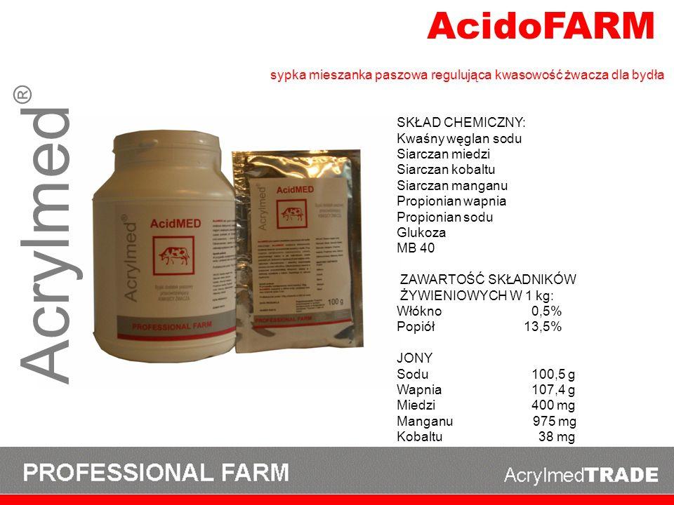 AcidoFARM sypka mieszanka paszowa regulująca kwasowość żwacza dla bydła. SKŁAD CHEMICZNY: Kwaśny węglan sodu.