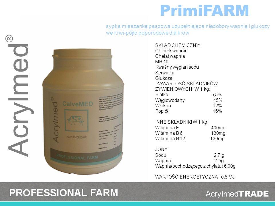 PrimiFARM sypka mieszanka paszowa uzupełniająca niedobory wapnia i glukozy. we krwi-pójło poporodowe dla krów.