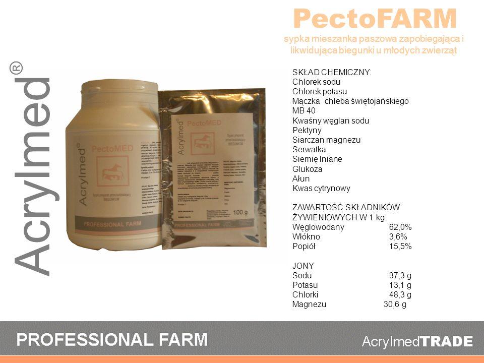 PectoFARM sypka mieszanka paszowa zapobiegająca i likwidująca biegunki u młodych zwierząt. SKŁAD CHEMICZNY: