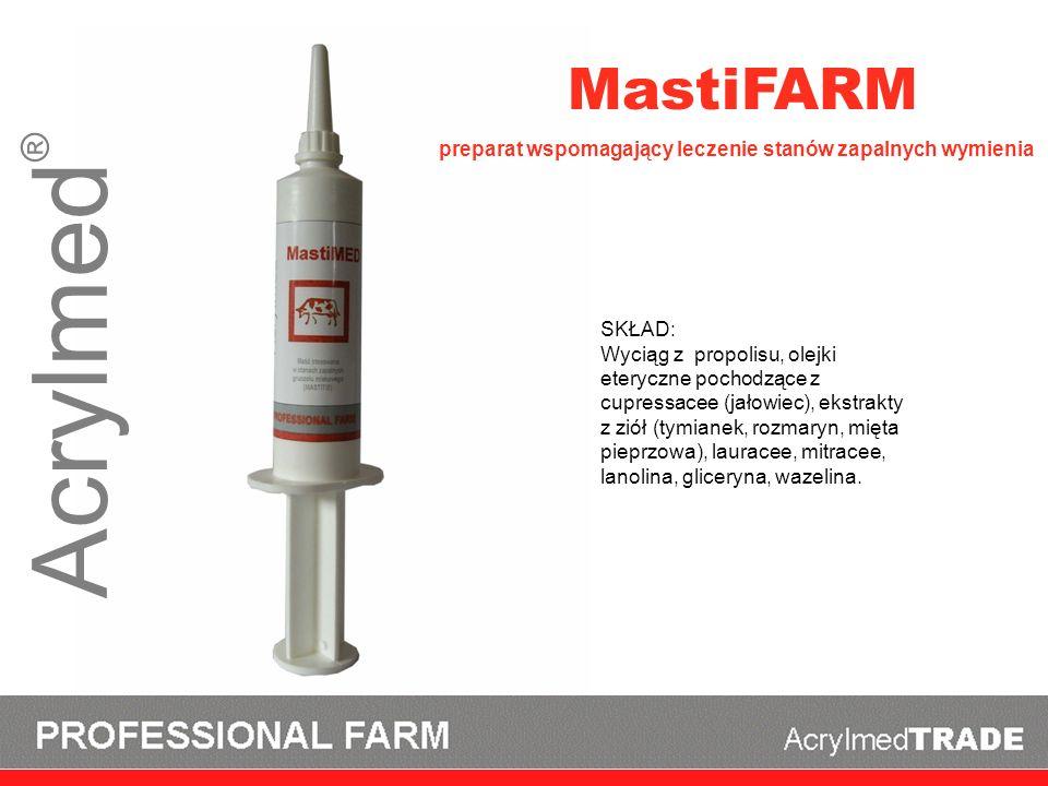 MastiFARM preparat wspomagający leczenie stanów zapalnych wymienia. Acrylmed®
