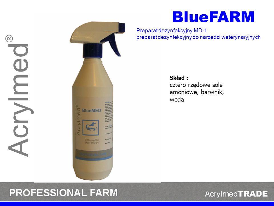 Acrylmed® BlueFARM cztero rzędowe sole amoniowe, barwnik, woda