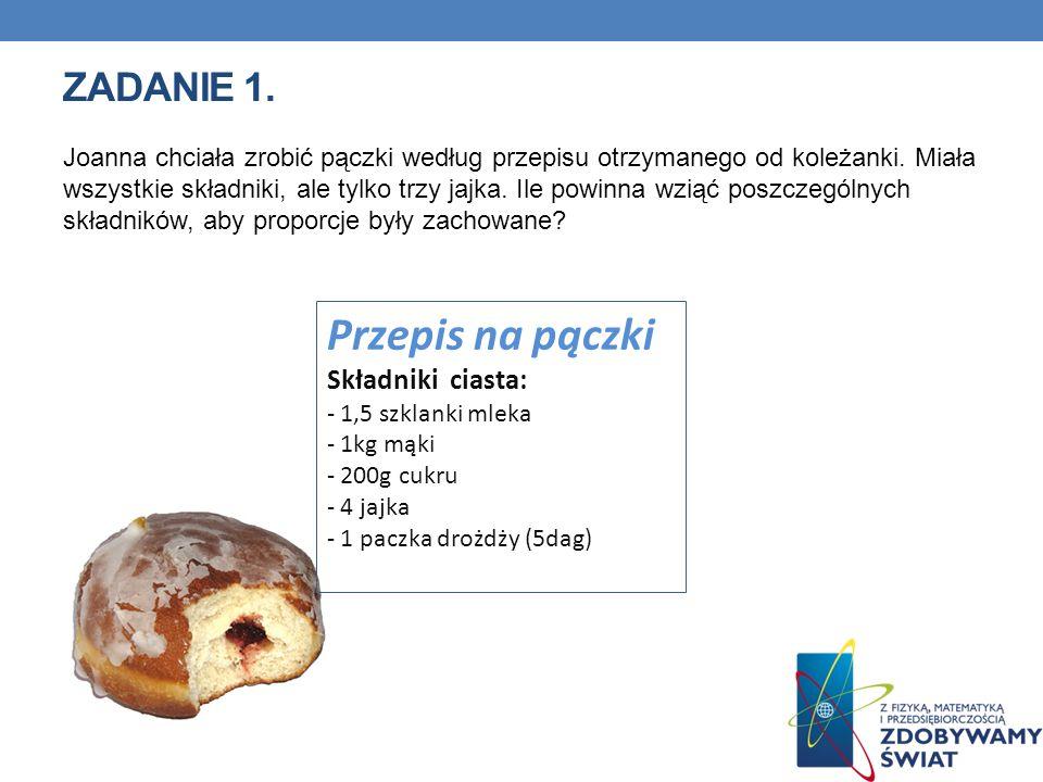 Przepis na pączki Zadanie 1. Składniki ciasta: