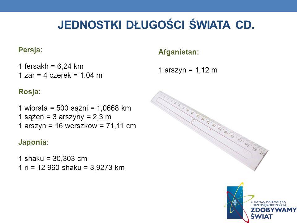Jednostki długości Świata cd.