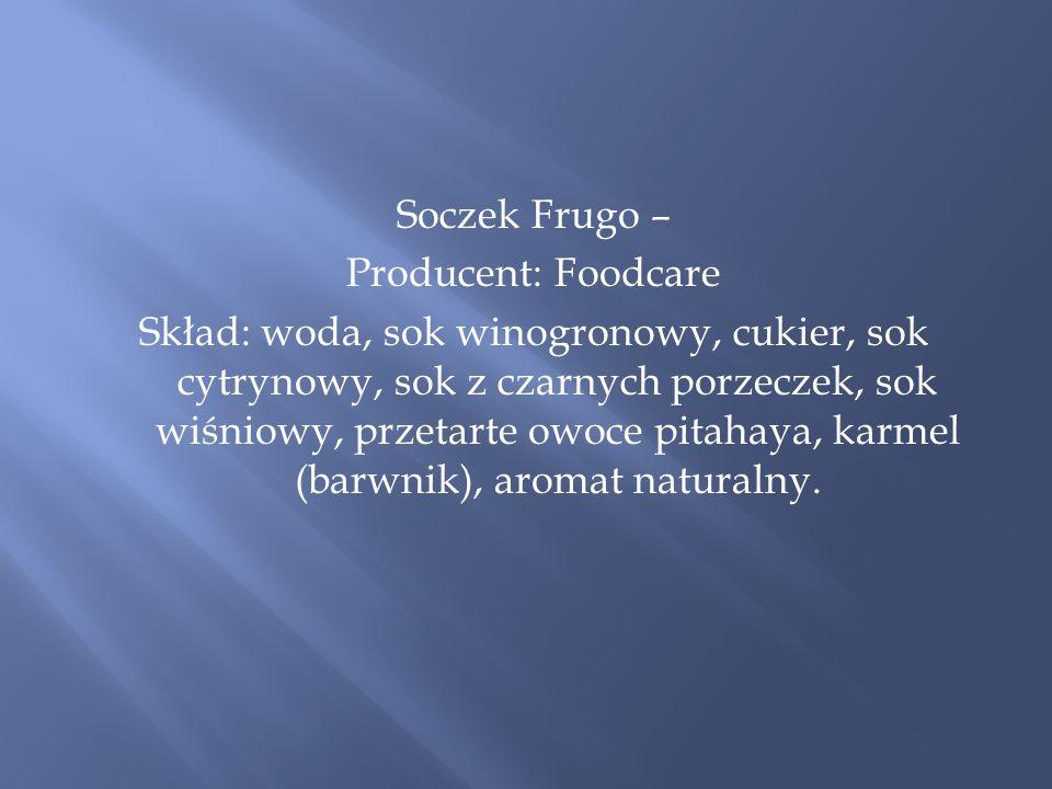 Soczek Frugo – Producent: Foodcare Skład: woda, sok winogronowy, cukier, sok cytrynowy, sok z czarnych porzeczek, sok wiśniowy, przetarte owoce pitahaya, karmel (barwnik), aromat naturalny.