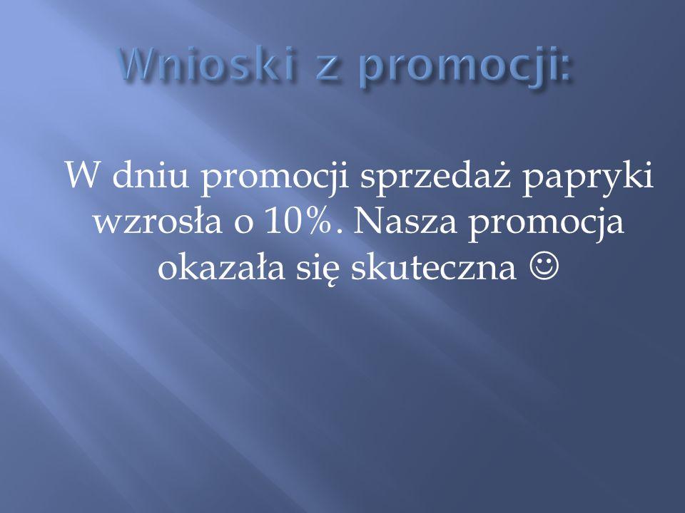 Wnioski z promocji: W dniu promocji sprzedaż papryki wzrosła o 10%.